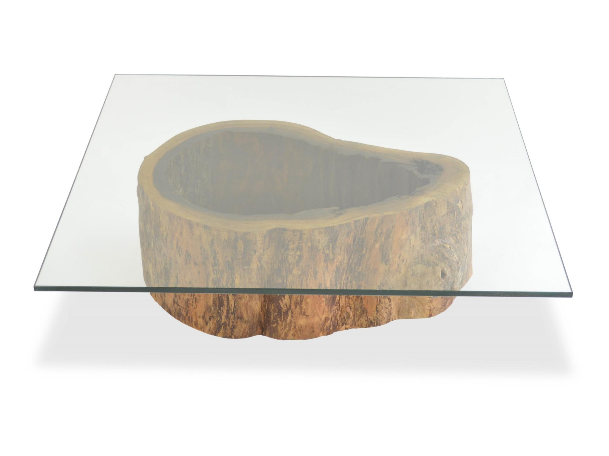 Rotsen-Furniture-Salvaged Hollow Trunk Coffee Table - Square Glass Top Rotsen 01
